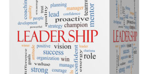 Leadership 3D cube Word Cloud Concept with great terms such as vision, positive, winner and more.